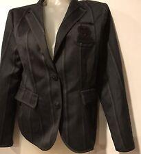 COACH POPPY crest pocket striped button up wool blazer suit jacket M NWOT