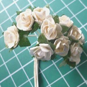 Bunch of 12 artificial Mini Tea Roses on stems 10mm / 24 Mini Rosebuds 7mm