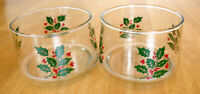 Set of 2 Indiana Glass HOLLY BERRY Bowl Serving Dish Candle Holiday Christmas