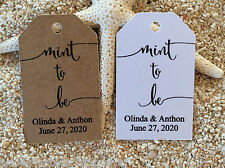 10 Kraft Brown Gift Tags Bomboniere Wedding Favour Personalised Mint to Be