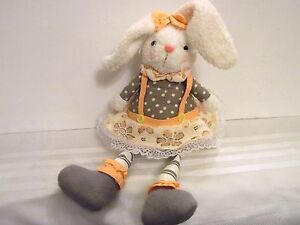 Weighted White SPRING Girl BUNNY RABBIT with Pink Gray EASTER SPRING DECORATION