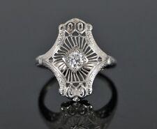 Vintage 18K White Gold Old Miner Cut Diamond Art Deco Filigree Cocktail Ring