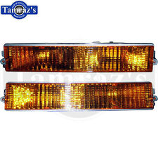 84-87 Regal Front Bumper Parking Marker Turn Light Lamp Lens AMBER - PAIR Repro