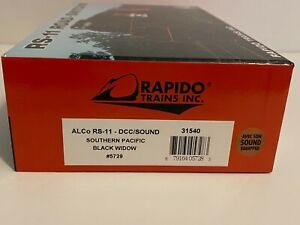 HO Rapido 31540 Southern Pacific SP RS-11 Black Widow No. 5729 DCC/Sound - NIB