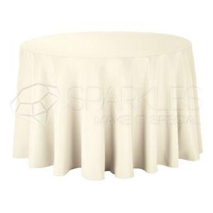"10 pc 120"" Round Cloth Fabric Linen Tablecloth - Ivory - Wedding Restaurant ko"
