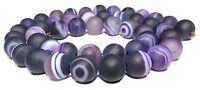 😏 Bandachat Perlen 8 mm Kugeln matt violett Edelstein Strang Streifen Achat 😉