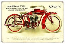 Indian Motorcycle 1916 Indain Twin Metal Sign 12x18