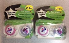 4 Tommee Tippee Closer to Nature Orthodontic Pacifiers Fun Style 0-6 M
