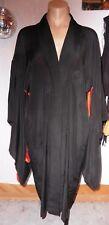 50s Black Silk KIMONO w/ Bright Emb Flora