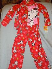 Two Piece Snoopy Peanuts Red Christmas Holiday Soft Pajama Set Toddler XS New!