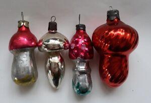 FOUR VINTAGE Soviet Christmas ornaments DIFFERENT MUSHROOMS  # 39