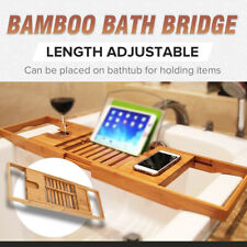 Extendable Bamboo Bath Caddy / Adjustable Luxury Bath Tub Rack Tray Shelf /