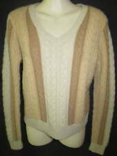 Neiman Marcus 100% Cashmere Beige Camel Brown Cable Knit Sweater L