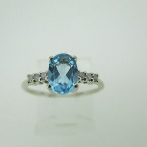 10k White Gold Blue Topaz Ring with Diamond Accents Size 5 1/4