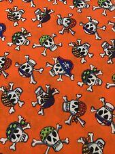 New listing Pirates Skulls Cross Bones Orange Fabric 2 Yards x 44� Halloween Creepy Spooky
