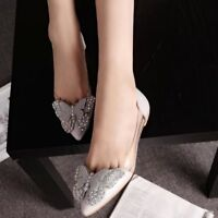 Women's Flat Casual Comfy Slip On Shoes Flat Loafers Butterfly Pointed Toe Pumps