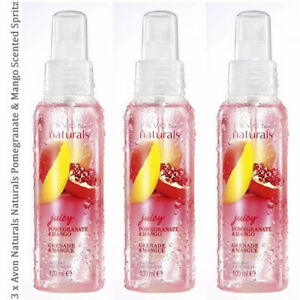 3 x Avon Naturals Scented Spritz Pomegranate & Mango Room Body Spray Mist 100ml