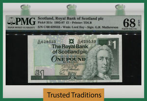 TT PK 351c 1992-97 SCOTLAND ROYAL BANK 1 POUND PMG 68 EPQ SUPERB TIED AS BEST!