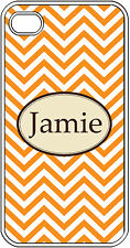 Monogrammed Orange Chevron Design iPhone 4 4S Hard Clear Case Cover