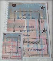 Gästebuch Jugendweihe Jugendfeier Geschenk Einladung Karte Dekoration # Quadrate