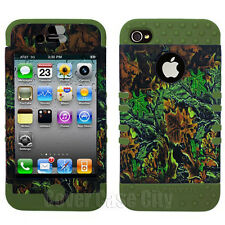 Hunter Camo Mossy Oak Leaves Phone Cover For Apple iPhone 4 4S Hard Case 2 in 1
