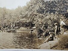C1927 Upper Twin Lake Camp Kittredge Central Valley NY RPPC Postcard Red 2C