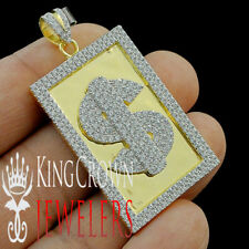 14k Yellow Gold Tone Real Sterling Silver Lab Simulated Diamond $ Sign Charm