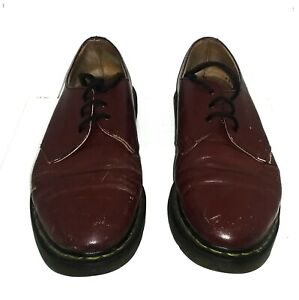 Dr Martens Cherry Red Leather Low Shoes Made In England Size 9 WELL USED