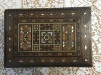 """Inlaid Wood Box Handcrafted Multi-tone Wooden Mother Of Pearl 11""""x 8"""" Vintage"""