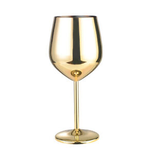 Red Wine Glass Goblet Stainless Steel Copper Plated Cup Mug 500ML Golden