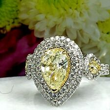 GIA Certified 2.14 Ct Pear Shaped Yellow Diamond Engagement Ring 14k White Gold