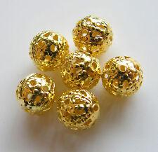 150pcs 6mm Round Metal Ironwork Filigree Spacers - Bright Gold