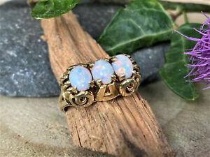 585er Gelbgold Opal Ring - Handarbeit - 50iger Jahre - Ringweite 58