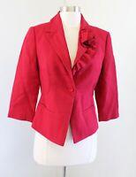White House Black Market Red Wool Blend Ruffle Floral Blazer Suit Jacket Size 4