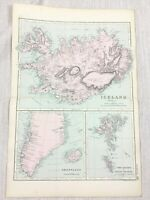 1892 Antique Map of Iceland Greenland Faeroe Islands 19th Century G W Bacon