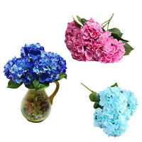 Artificial Hydrangea 5 Flower Heads Bouquet Wedding Garden Party Bridal Dec B8A9
