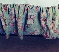 Vintage Ralph Lauren King Charolette Dust Ruffle Bedskirt Sage Pink