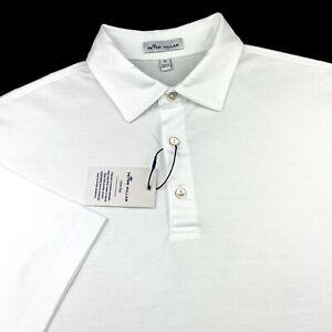 Peter Millar Crown Ease Polo Stretch Golf Shirt Cotton White Mens M XL $89