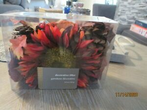 Pier 1 FALL Decorative Vase Filler Faux Sunflower Oak Leaves Pinecone Red Brown
