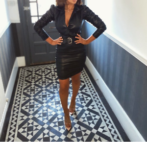 Black Faux Leather Ruched Mini Skirt