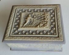 Vintage Reuge Incolay Stone Musical Jewlelry Box Carved