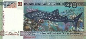 """Djibouti 40 Francs 2017 40th Jubilee of Independence s/n AA0000000 """"Specimen"""""""
