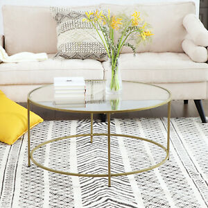 VASAGLE Round Glass Coffee Table Sofa Side Living Room Furniture Golden LGT21G