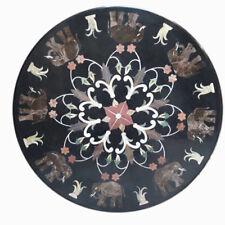 "30"" Round Marble Coffee Table Top Pietra Dura Handmade Work Home Room decor"