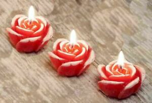 Handmade Decorative Wax Scented Candle Home Decor Small Roses Flowers 3 candles