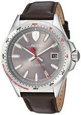 Ferrari Men's 'Pilota' Quartz Stainless Steel and Leather Casual Watch, Color...