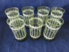 7 Vintage Green  with White Lace and Flower Design Tumblers Drinking Glasses