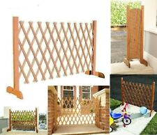 More details for expanding portable fence wooden screen gate kid safety dog pet patio garden lawn