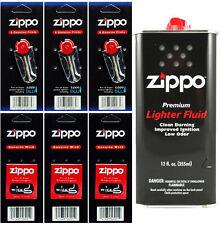 12 Ounce Fuel Fluid & 3 Packs Flint (18 Flint) & 3 Wicks for Zippo Lighters