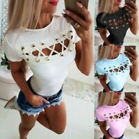 Womens Short Sleeve Criss Cross Hollow Out Blouse Ladies Slim Tunic Tops T-Shirt